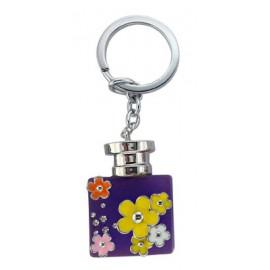 Porte clé forme bouteille de parfum violette fleurie