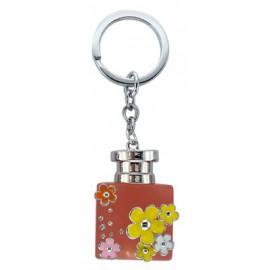 Porte clé forme bouteille de parfum rose fleurie