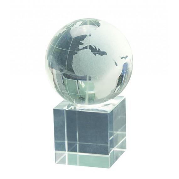 Globe terrestre en verre sur support