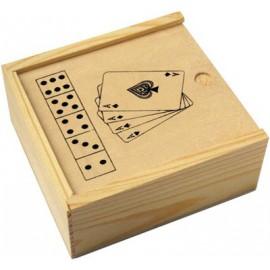 Jeu 52 cartes et 5 dés dans coffret bois
