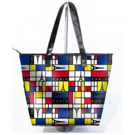 Sac shopping ou plage , motif graphique coloré tour eiffel