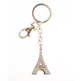 Porte-clés forme Tour Eiffel dorée avec strass
