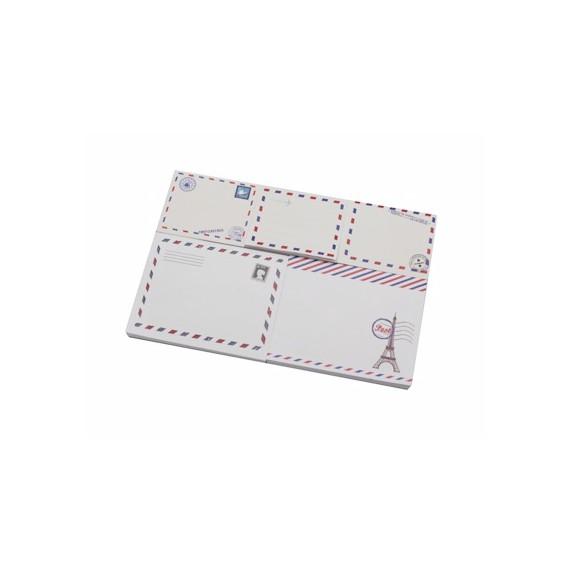 Boîte métallique garnie de post it motif courrier et Tour Eiffel