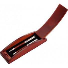 Parure de stylo bille et roller en bois et métal dans écrin bois