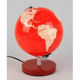 Lampe de bureau rouge en forme de globe terrestre