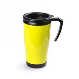 Mug plastique jaune à poignée