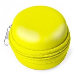 Mini boite ronde zippée , plastique termoformé jaune