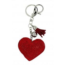 Porte clé coeur strassé rouge