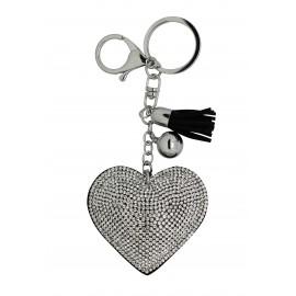 Porte clé coeur strassé blanc