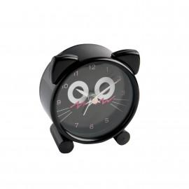 Réveil métal forme tête de chat noir