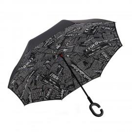 Parapluie inversé impression journal noir