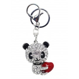 Porte clé panda en strass avec coeur rouge