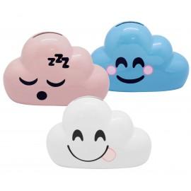 Tirelire céramique forme nuage, couleurs assortis x12