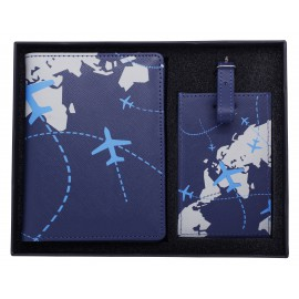 Blue passport holder + luggage tag