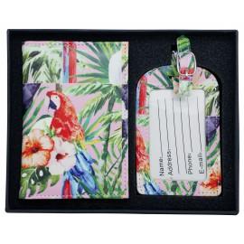Coffret protège-passeport + étiquette à bagage, motifs perroquet