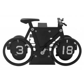 Pendule forme vélo chiffres rotatifs cadre noir