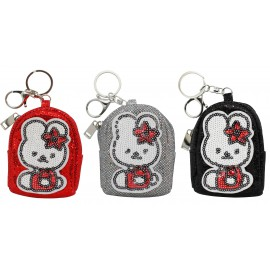 Keyring coin purse shape backpack glittery bunny assorted x12