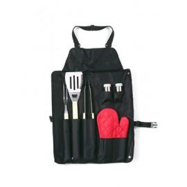 Tablier barbecue 6 accessoires avec gant rouge