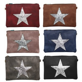 PU pouch matte glitter star decor, assorted colors x 12