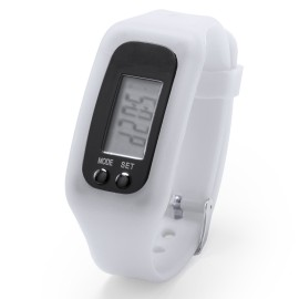 Montre podomètre blanche rétro-éclairée avec alarme
