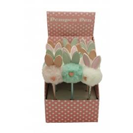 Stylo bille décor tête de lapin fourrure assortis x 24