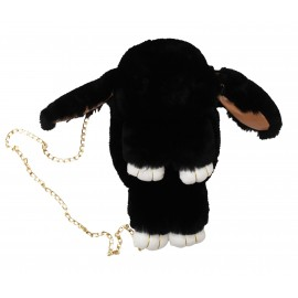 Black fur backpack, rabbit shape