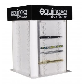 Rotative pen display with magnet door for each side