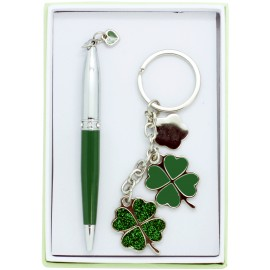 4 leaves clover pen and keychain set