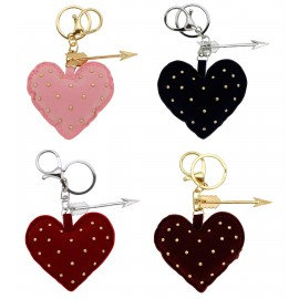Porte clés forme coeur en tissus couleurs assorties x 12