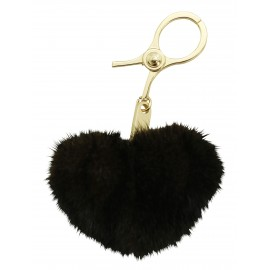 Brown mink heart key ring