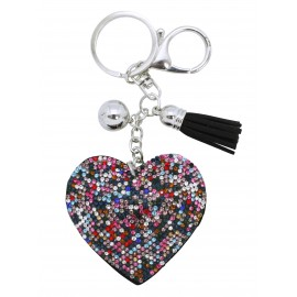 Heart shaped keychain with multicolor stones
