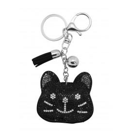 Porte clés tête chat en strass noir