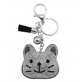 Porte clés tête chat en strass silver