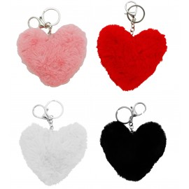 Fur heart shape keychain assorted x 12 pcs