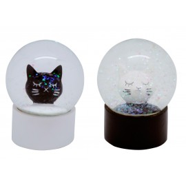 Black and white cat snow bowls x 12