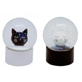 Boules à neige chats blancs et noirs x 12
