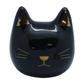 Black ceramic money bank head cat shaped
