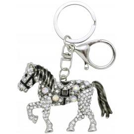 Porte clé cheval métal strassé