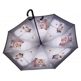 Parapluie inversé motif chat