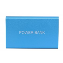 blue metal 8800 mAh power bank with 1 cable