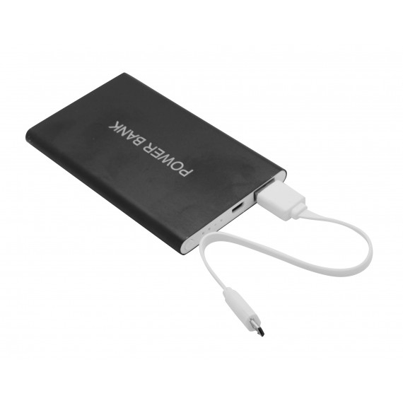 Black metal 8800 mAh power bank with 1 cable
