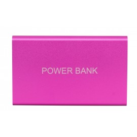 Pink metal 8800 mAh power bank with 1 cable