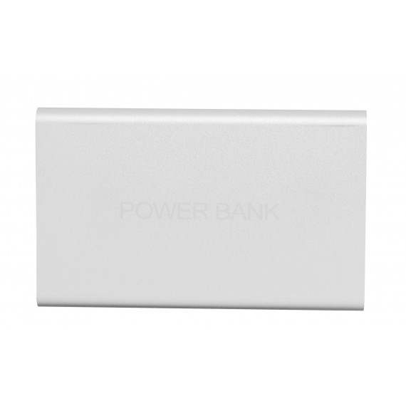 Silver metal 8800 mAh power bank with 1 cable