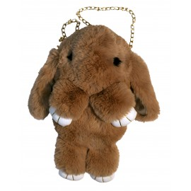 Beige  fur backpack, rabbit shape