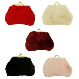 Fur coin purse assorted x 12 pcs