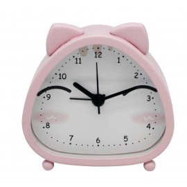 Pink cat head alarm clock, sweep movement