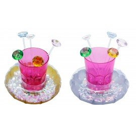 Inflatable cup holder pvc, assorted glittering silver and gold color