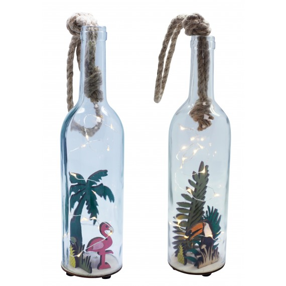 Glass bottle with led, flamingo and toucan deco