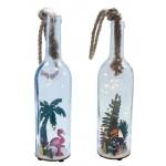 Lampe à led, bouteille en verre, assortiment deco toucan et flamant rose