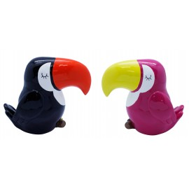 Toucan saving money bank, assorted pink and black